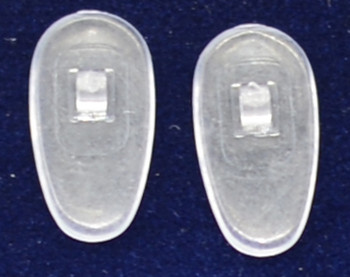 "Push-On PVC poly vinyl chloride Semi-Soft ""Tear drop"" Shape 17mm in 25 pairs in bag.  Mix-N-Match Nose pads pricing on 25 pair bags $7.25 per bag on 4 to 15 bags, $6.19 on 16 -39 bags and $5.50 on 40+ that equals $100 pairs for $29 or 400 pair at $99 Final price determined by ""Shopping Cart Total"" of ""Premium Nose Pads"""