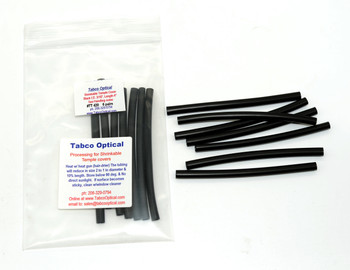 "Temple Shrinkable Covers Black 3/16"" Core inside diameter before shrinking, Length 4"" Long in 6 pairs in bags  Heat shrink tubing for temple or cable repairs. As heat is applied this specially selected material for use on Eyewear will reduce in size at least to half its original size (diameter). A great way to cover without replacing a worn, discolored or damaged temple tip. Sold in 6 pair packs Shrinkable Temple Covers Processing: Heat with a heat gun (hair dryer on high) the tubing will reduce in size 2 to 1 in diameter and 10% in length."