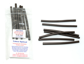 "Temple Shrinkable Covers Brown 3/16"" Core inside diameter before shrinking, Length 4"" Long in 6 pairs in bags  Heat shrink tubing for temple or cable repairs. As heat is applied this specially selected material for use on Eyewear will reduce in size at least to half its original size (diameter). A great way to cover without replacing a worn, discolored or damaged temple tip. Sold in 6 pair packs Shrinkable Temple Covers Processing: Heat with a heat gun (hair dryer on high) the tubing will reduce in size 2 to 1 in diameter and 10% in length  Pricing $4.50 for 1 to 5 bags, $3.25 for 6 or more bags Min-N-Match pricing on this group"