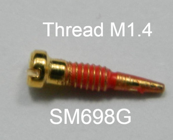 SM698 Self-Aligning Spring Hinge Screw; 1.4mm Thread, 2.0mm Head, break length 4.0mm overall 7.8mm Length, Stainless Steel color Gold coated thread $18.50 per 100