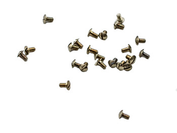 """SM081 Screw used for Nose pads, Hinge and Front/Bridge,  Thread: M1.4,  Head: 2.8mm (large) Overall length 3.2mm (1/8"""") nickel silver 100 count vial Color: Silver $4.95 for 100"""