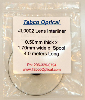 Lens Interliner 0.50mm thick x 1.70mm wide x 4.0 meters long on spool durable material One Spool