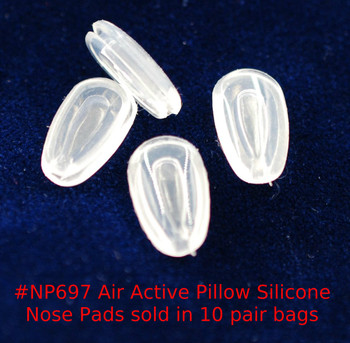 "Air Pillow nose pads Premium grade soft silicone ""Mono pad"" mount nose pads size about 12mm long by 5mm wide and 2mm think Shape is Teardrop fit either side. The mount is formed metal that the nose pad is inserted into.  This nose pad is solid silicone, there is no hard insert.  Packaged and sold 10 pair bags."