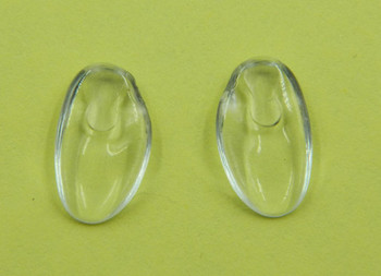 "Image of a pair of NP653 nose pads Replacement Silhouette nose pads made from Premium grade firm and flexible PVC this nose pad measures about 13mm long by 7.5mm wide and 2.2mm think Shape is ""D"" fit there are Left and Right side pads. The mount is a unique Silhouette design using wire bent into a teardrop shape. The bent wire is inserted into the top end of the nose pad. These nose pads were designed to replace the original Silhouette nose pads that are very hard these are softer.  This product also fits some Adidas frames a Silhouette line. Packaged and sold 10 pair bags."