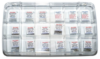 Show Special Price $89.00 good to end of October 2018 regular List price is $99.95  Designed for the Eyecare professional so you have a wide selection of parts so you can fix a frame correctly and quickly.  No need to look through several small trays. the kit contains 18 vials each with 40 pieces.  We included Spring hinge screws, Self-Tapping screws, hinge screws nose pads screws hex nuts, washers and bushings. Thread sizes range from 1.0mm to 1.5mm.