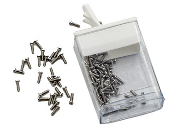 "SM346 Screw small head – Phillips / X-Slotted; Thread M1.2 (1.2mm), Head 2.0mm diameter, Overall Length 4.7mm, Stainless Steel Finish: color Silver,  100 count. This screw is typical on smaller frames also called ""Eyewire"" screws"