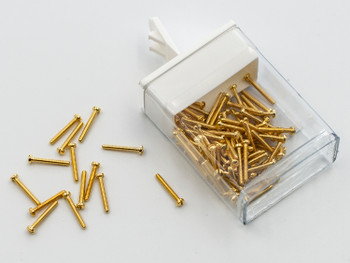 Lens/Rimless Screw; Thread 00-90 / 1.16mm, Head Diameter 2.0mm, Overall length 9.4mm, Material is Nickel Silver with Gold Finish, Sold in 100 count Vials