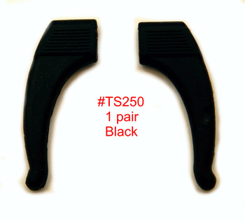Comfort  Ear-Hocks, color black material soft Silicone.  These soft silicone add-on's slide on over your existing temple tips. Use adjusts them improve comfort, keep eyewear from slipping on the nose and improve the fit of glasses.  Sold in 12  pair bags