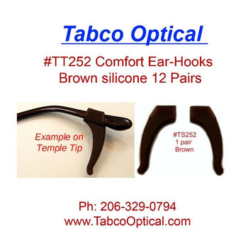 Comfort Ear-Hooks Silicone Brown 12 prs #TT252