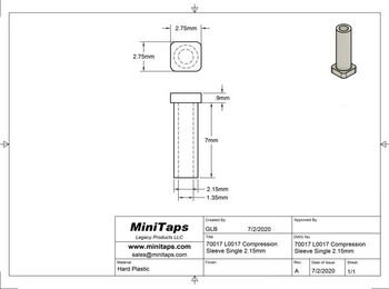 Mounting Sleeve single for Marchon Air-Lock style 2.15mm hole type of mount L0017 100 pieces  Sleeve length 7.5mm, Sleeve outside diameter 2.15mm, Sleeve inside diameter 1.35mm, Cap also called Head diameter of 2.25mm, Inside diameter is through the cap.  Note the lens hole should be 2.15mm and the sleeve fits tightly, the frame prong size is slightly over 1.35mm.  To fit well the sleeve is compressed outward by the prong make a tight fitting lens mount.
