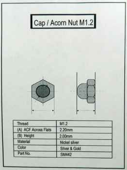SM442 Rimless Nut Cap Internal thread is M1.2 color Gold, material is Nickel silver, a copper alloy the Hex measurement is 2.2mm a cross sold in  100 count