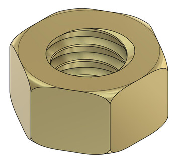 "Machined Hex Nut standard Metric thread M1.4 also 1.40UNM thread, .30mm pitch (standard for this thread)  ACF (across the flats) 2.25m / .089"", Material: Nickel Silver w/ Gold finish. Packaged Price per 100 pieces with bulk pricing available."