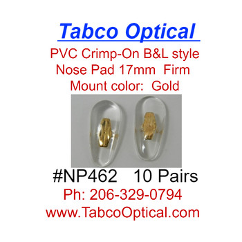Crimp-On nose pad 17mm length in Tear-drop shape made from Medium-Soft PVC with Gold color metal insert.  The mount has two flat bars that can be bent to secure pad to nose pad arm.  This is pad was extensively used on older B & L frames.   Packaged in 10 pair bags