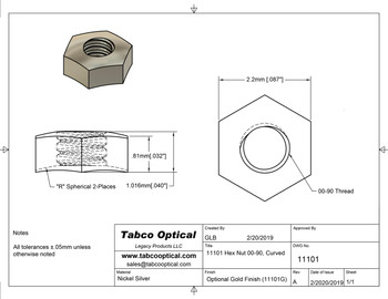 Family drawing for SA101 Rimless Hex Nut