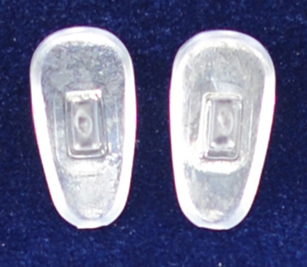 "Push-On PVC poly vinyl chloride Semi-Soft ""Tear Drop"" Shape 13mm in 25 pairs in bag, Please note the size on this pad can vary from 13mm to +Mix-N-Match Nose pads pricing on 25 pair bags  $7.25 per bag on 4 to 15 bags, $6.19 on 16 -39 bags and $5.50 on 40+ that equals  $100 pairs for $29 or 400 pair at $99  Final price determined by ""Shopping Cart Total"" of ""Premium Nose Pads"""