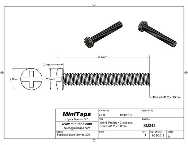 """SM348 Screw small head – Phillips / X-Slotted; Thread M1.2 (1.2mm), Head 2.0mm diameter, Overall Length 8.7mm, Stainless Steel Finish: Silver with coated thread, 100 count. This screw is typical on smaller frames also called """"Eyewire"""" screws"""