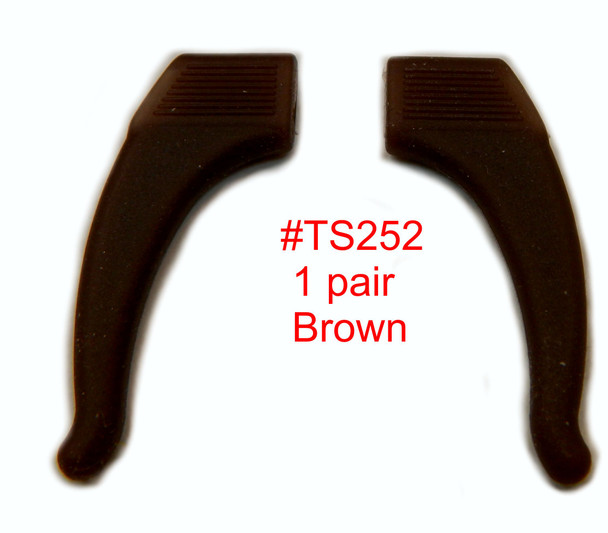 Comfort  Ear-Hocks, color brown material soft Silicone.  These soft silicone add-on's slide on over your existing temple tips. Use adjusts them improve comfort, keep eyewear from slipping on the nose and improve the fit of glasses.  Sold in 12  pair bags