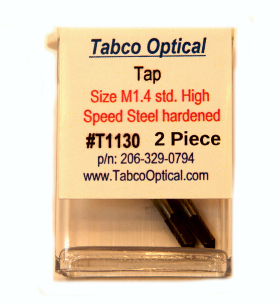 Tap metric M1.4  Material Hardened High Speed Steel sold in two piece vials.  Drill for this tap Is T1220 or T1230  this tap is designed for limited use such as re-tapping a hole.  If you need an industrial and or production grade tap visit www.MiniTaps.com search Taps metric
