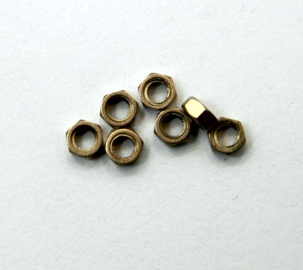 SM420 Hex Nuts;  Thread  M1.5 x .30mm  material Nickel silver , color is a bronze - gold packaged in 100  count  vial