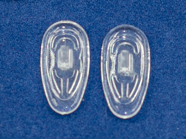 """Premium Grade Soft Silicone """"Push-On"""" Mount Nose Pads  19mm """"Teardrop"""" Shape  This nose pad is made in a 19mm mold. Actual finished nose pad measures 18.5mm±.  Packaged in 25 pair bags"""