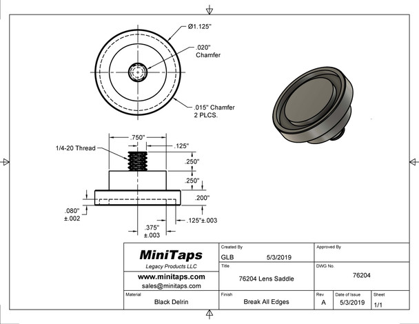 Drawing for the lens Saddles the Rubber ring is added and included in sale.