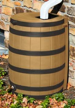 40 Gallon Flat Back - Good Ideas Rain Barrel - KHAKI w/ Black Ribs
