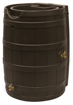Rain Wizard Flat Back Rain Barrel - 65 GAL - Walnut Brown