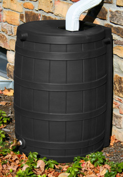 50 Gallon Flat Back - Good Ideas Rain Barrel - BLACK