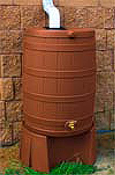 40 Gallon Flat Back - Good Ideas Rain Barrel - TERRA COTTA & Stand