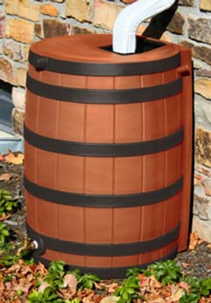 40 Gallon Flat Back - Good Ideas Rain Barrel - TERRA COTTA w/ Ribs