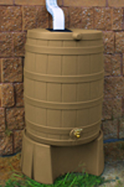 50 Gallon Flat Back - Good Ideas Rain Barrel - KHAKI & Stand