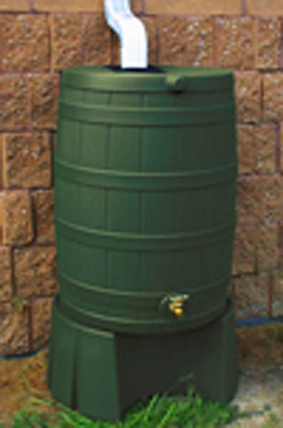 50 Gallon Flat Back - Good Ideas Rain Barrel - GREEN & Stand