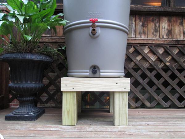 rain barrel stand, wooden rain barrel stand, chesapeake rain barrel stand