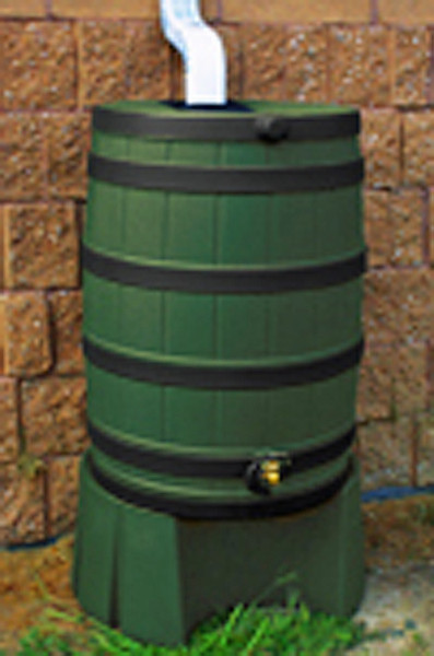 40 Gallon Flat Back - Good Ideas Rain Barrel - GREEN Ribs & Stand