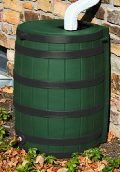 50 Gallon Flat Back - Good Ideas Rain Barrel - GREEN w/ Black Ribs