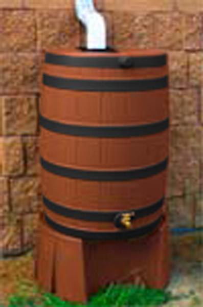 50 Gallon Flat Back - Good Ideas Rain Barrel - T.COTTA Ribs & Stand