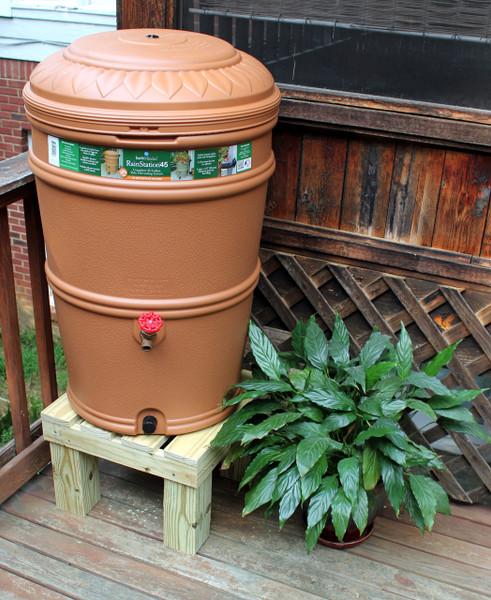 Earthminded SET - 45 Gallon Rain Station Barrel & Wooden Stand - TERRA COTTA