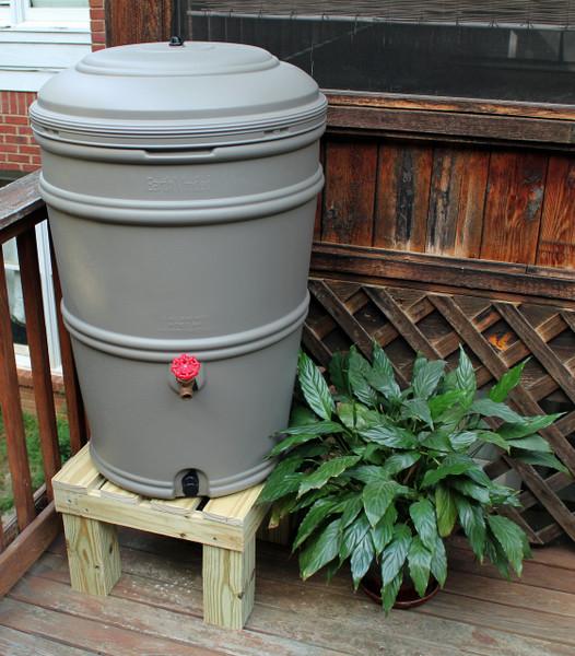 Earthminded SET - 45 Gallon Rain Station Barrel & Wooden Stand - GRANITE