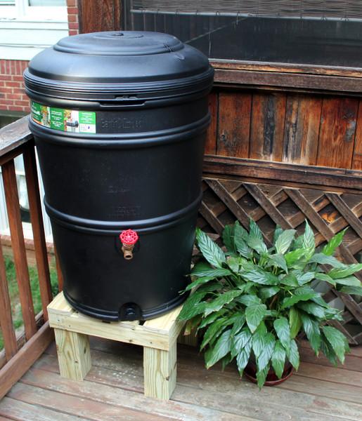 Earthminded SET - 45 Gallon Rain Station Barrel & Wooden Stand - CHARCOAL