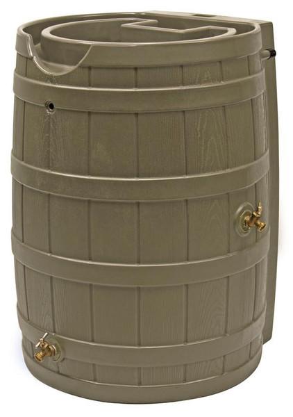 Rain Wizard Flat Back Rain Barrel - 65 GAL - Khaki