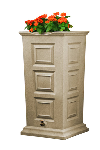 Savannah Rain Saver w/planter Rain Barrel - 55 GAL - SANDSTONE