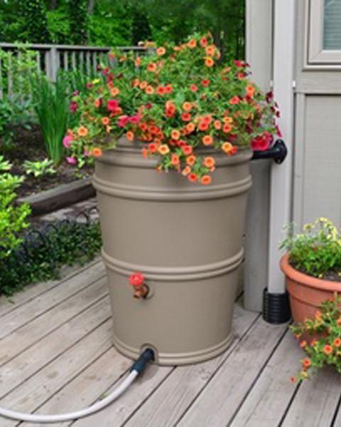 45 Gallon Earthminded Rain Station Tapered Barrel - GRANITE