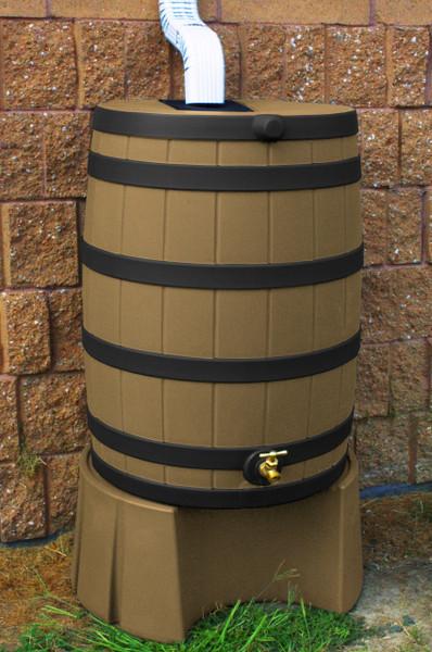 50 Gallon Flat Back - Good Ideas Rain Barrel - KHAKI w/ Black Ribs & Stand