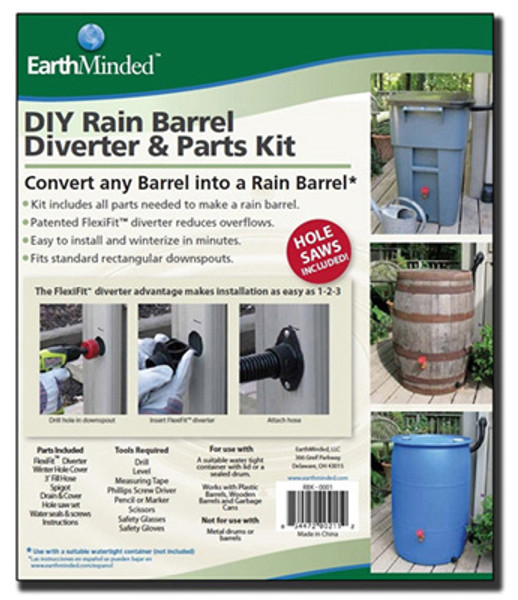 Rain Barrel Kit, earthminded rain barrel kit, rain barrel