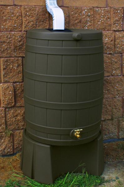 50 Gallon Flat Back - Good Ideas Rain Barrel - OAK & Stand