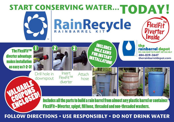 RainRecycle Rain Barrel Kit - Curved Downspouts