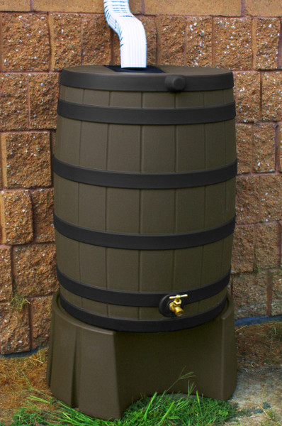 50 Gallon Flat Back - Good Ideas Rain Barrel - OAK Ribs & Stand