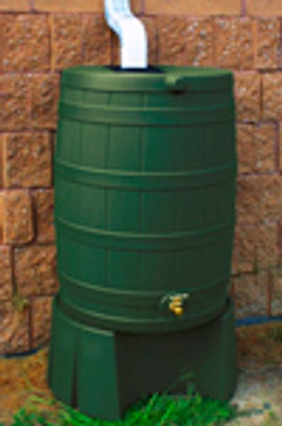 40 Gallon Flat Back - Good Ideas Rain Barrel - GREEN & Stand