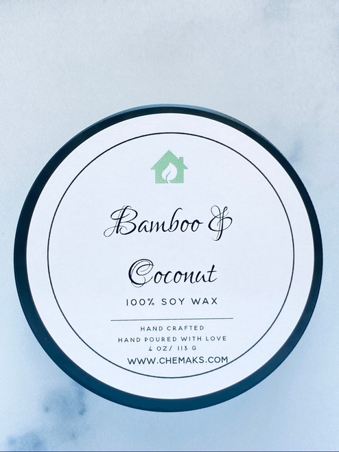 Hand Poured Candle in a Tin - Bamboo & Coconut- 4oz