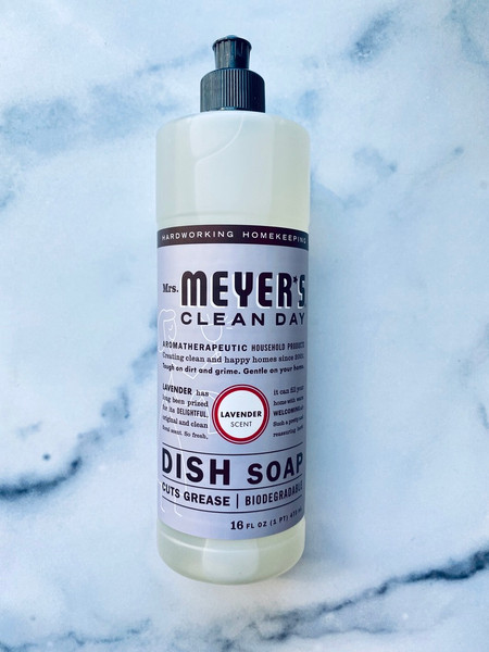 Mrs. Meyer's Clean Day Lavender Dish Soap Bottle-16oz.Cuts Grease and is Biodegradable
